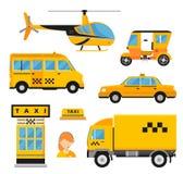 Différents types de transport de taxi Vecteur de véhicules Photos stock