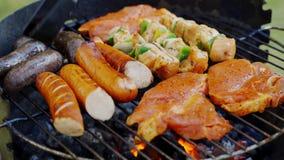 Différents types de viandes juteuses sur les charbons chauds sur le gril dans le jardin clips vidéos