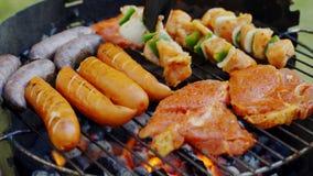 Différents types de viandes juteuses sur les charbons chauds sur le gril dans le jardin banque de vidéos