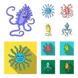 Différents types des microbes et de virus Les virus et les bactéries ont placé des icônes de collection dans la bande dessinée, s Photo libre de droits
