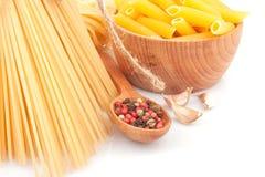 Différents types des pâtes et de plats Photographie stock