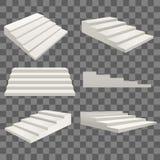 Différents types du calibre 3d de blanc d'échelle blanche détaillée réaliste d'escaliers réglés Vecteur Illustration Stock