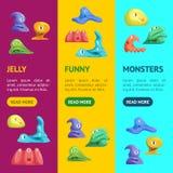 Différents types ensemble mignon de Jelly Monsters Characters Banner Vecrtical Vecteur illustration libre de droits