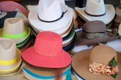 Différents types et modèles de nombreuses couleurs de chapeaux Images stock