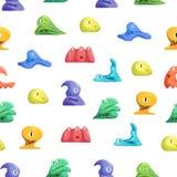 Différents types fond mignon de Jelly Monsters Characters Seamless Pattern Vecteur illustration libre de droits