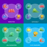 Différents types Jelly Monsters Characters Banner Set mignonne Vecteur illustration de vecteur