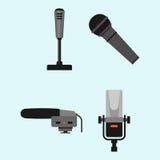Différents types musique de microphones d'entrevue de vecteur de journaliste d'icônes annonçant l'outil vocal de l'outil TV Photographie stock libre de droits