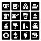 Différents types noirs d'icônes d'industrie de café Illustration Stock