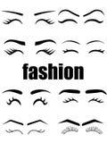 Différents types variation de Web de modèles de sourcils et de cils Ligne noire illustration d'icônes illustration stock