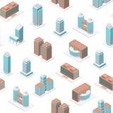 Différents types vue isométrique de fond sans couture de modèle de l'immeuble de bureaux 3d Vecteur illustration libre de droits