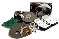 Diffenrent parts of hard drive Stock Photos