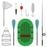 Differeent fishing equipment icons isolated on white background. Fishing boat, equipment, landing net and spinning. Vector illustration Royalty Free Stock Image