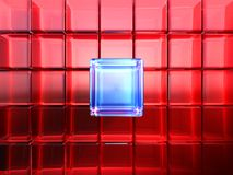 THE DIFFERENCE. Lot of red rounded glass cubes in perspective as fancy background and one blue cube in front. Cool refractions and reflections on a blue cube in vector illustration