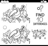 Difference activity with birds. Black and White Cartoon Illustration of Finding Differences Educational Activity for Children with Birds Animal Characters for Royalty Free Stock Images