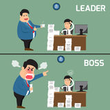 Difference between boss and leader. Boss help employee for worki. Ng to success, Boss shouts to employee in work fatigue, Leadership business concept, Vector Stock Photo