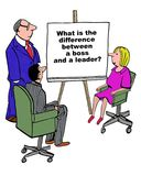 Difference between boss and leader Stock Image