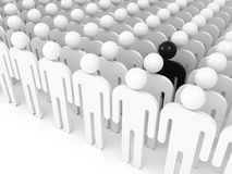 Difference concept. One black schematic man. In crowd of white people, digital 3d illustration Stock Photos