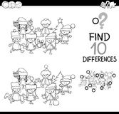 Difference game coloring page. Black and White Cartoon Illustration of Finding Differences Educational Game for Children with Christmas Characters Coloring Book Stock Photography