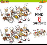 Difference game with cooks. Cartoon Illustration of Finding the Difference Educational Activity for Children with Cook Characters Royalty Free Stock Photo