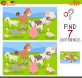 Difference game with farm animals group. Cartoon Illustration of Finding Seven Differences Between Pictures Educational Activity Game for Children with Farm Royalty Free Stock Photography