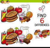 Difference game with food objects Royalty Free Stock Photos