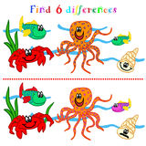 Difference game with marine life. Find 6 difference game or visual puzzle: marine life Stock Photos