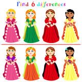 Difference game with princesses. Find 6 difference game or visual puzzle: princesses with ball gown Stock Photo