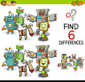 Difference game with robots. Cartoon Illustration of Finding the Difference Educational Activity for Children with Robot Characters Stock Images