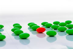 Difference made Leadership :red pigment granules in the green. Difference made Leadership :red pigment granules in the green Stock Photography