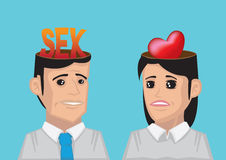 Difference between Man's and Woman's Wants Concept Vector Illust Royalty Free Stock Photos