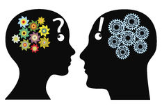 Difference man and woman. Creativity or rationality? Man and woman think in different ways, emotional versus logical Stock Photo
