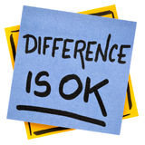 Difference is OK reminder note. Difference is OK reminder - handwriting in black ink on an isolated sticky note Stock Photo
