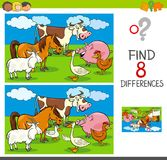 Differences activity with farm animal characters. Cartoon Illustration of Finding Differences Between Pictures Educational Activity Game for Kids with Funny Farm Stock Photos
