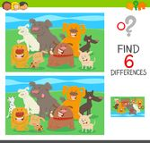 Differences activity game with cartoon dogs. Cartoon Illustration of Find the Differences between Pictures Educational Activity for Children with Dogs Animal Royalty Free Stock Photography