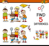 Differences activity for kids. Cartoon Illustration of Finding Differences Educational Activity for Preschool Children with Boys Group Royalty Free Stock Images