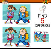 Differences activity for kids. Cartoon Illustration of Finding Differences Educational Activity with School Children Stock Photography