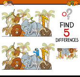 Differences activity for kids. Cartoon Illustration of Finding Differences Educational Activity Task for Children with Safari Animal Characters Royalty Free Stock Photo
