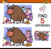 Differences activity for kids. Cartoon Illustration of Finding Differences Educational Activity Task for Preschool Children with Bull in a China Shop Saying Royalty Free Stock Photography