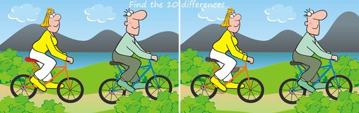 10 differences-bicycle. Find ten differences in the pictures - couple on bicycles Stock Photos