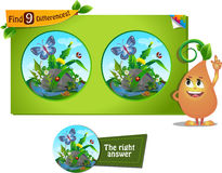 9 differences butterfly. Visual game for children and adults. Task to find 9 differences in the summer illustration  with  forest insects Royalty Free Stock Photography
