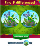9 differences butterfly. Visual game for children and adults. Task to find 9 differences in the summer illustration  with  forest insects Stock Photography