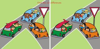 10 differences - cars. Find ten differences in the pictures - story family going on a trip Stock Photography