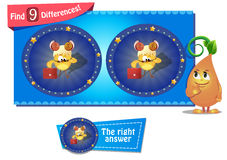 Differences  chicken aries. Visual Game for children. Task: find 9 differences in the chicken picture Royalty Free Stock Images