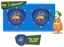 9 differences chicken helmet. Visual Game for children. Task: find 9 differences the chick royalty free illustration