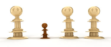 Differences concept. Three big perfect white chess pieces and one small brown pawn royalty free illustration