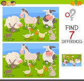 Differences edu game with farm animals. Cartoon Illustration of Finding Seven Differences Between Pictures Educational Activity Game for Children with Farm Stock Image