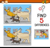Differences educational game. Cartoon Illustration of Finding Differences Educational Task for Preschool Children with Running Dogs Stock Photography
