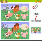 Differences game with animal characters. Cartoon Illustration of Finding Seven Differences Between Pictures Educational Activity Game for Children with Farm Royalty Free Stock Image