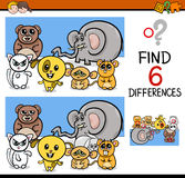Differences game with animals Royalty Free Stock Image