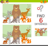 Differences game with animals. Cartoon Illustration of Finding the Differences Educational Game for Children with Forest Animal Characters Royalty Free Stock Photography
